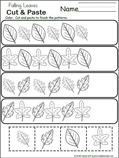 Free Pattern Worksheet for Kindergarten - Fall Leaves school