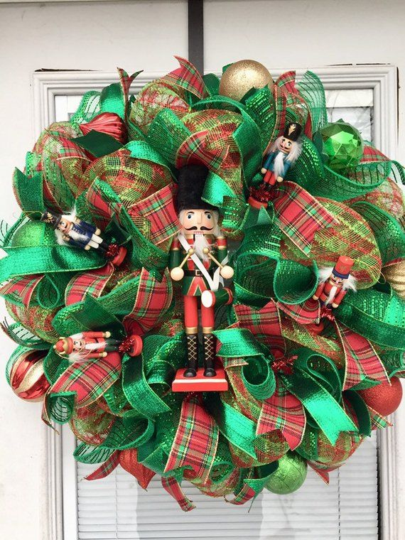 Nutcracker Wreath, Deco Mesh Nutcracker Wreath, Christmas ...