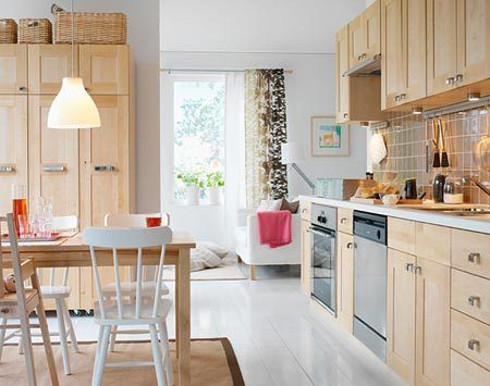 Our Adel birch doors with white countertop | Ikea kitchen ...