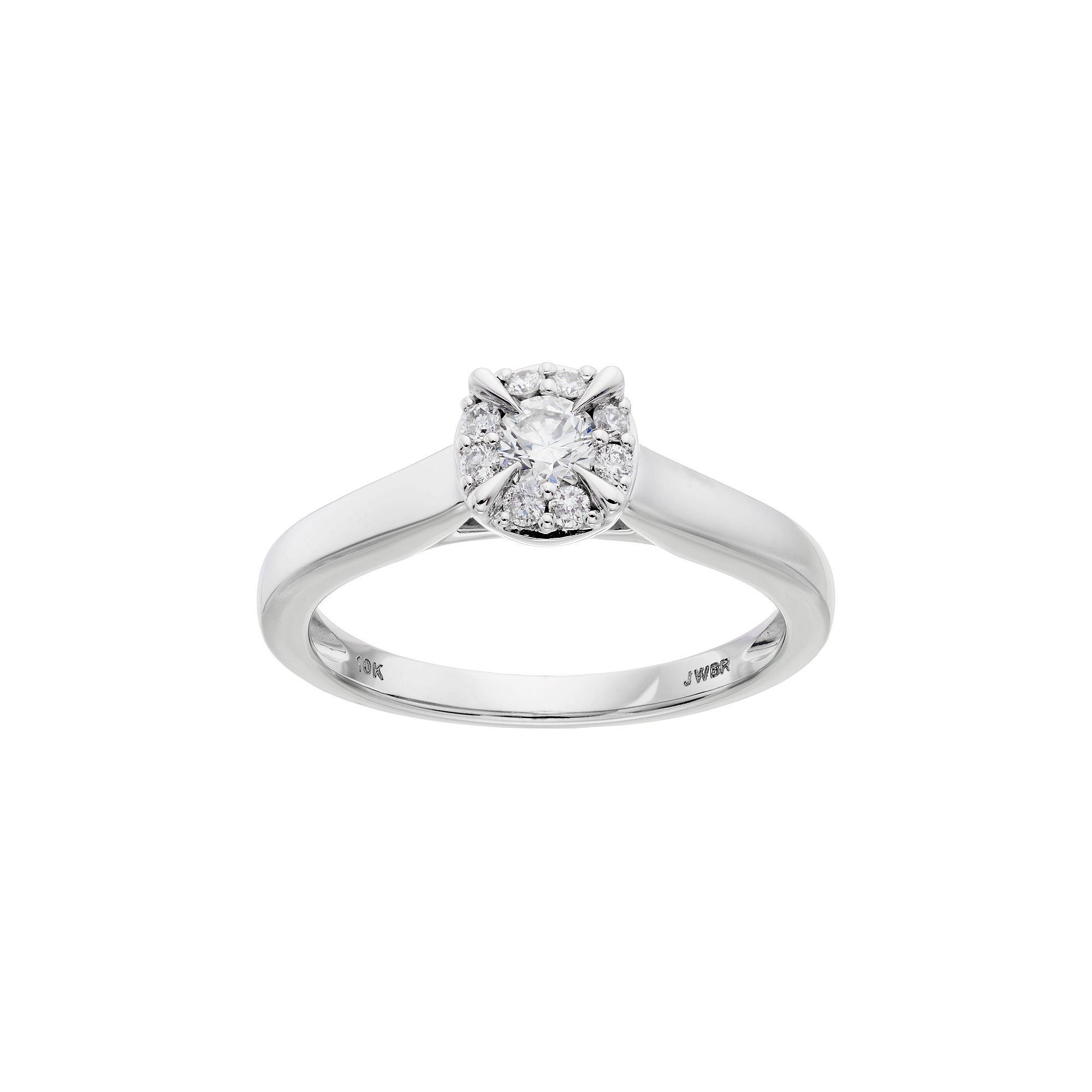 Lovemark 10k White Gold 1 3 Carat T W Diamond Halo Engagement Ring Halo Diamond Engagement Ring Halo Diamond Engagement Rings