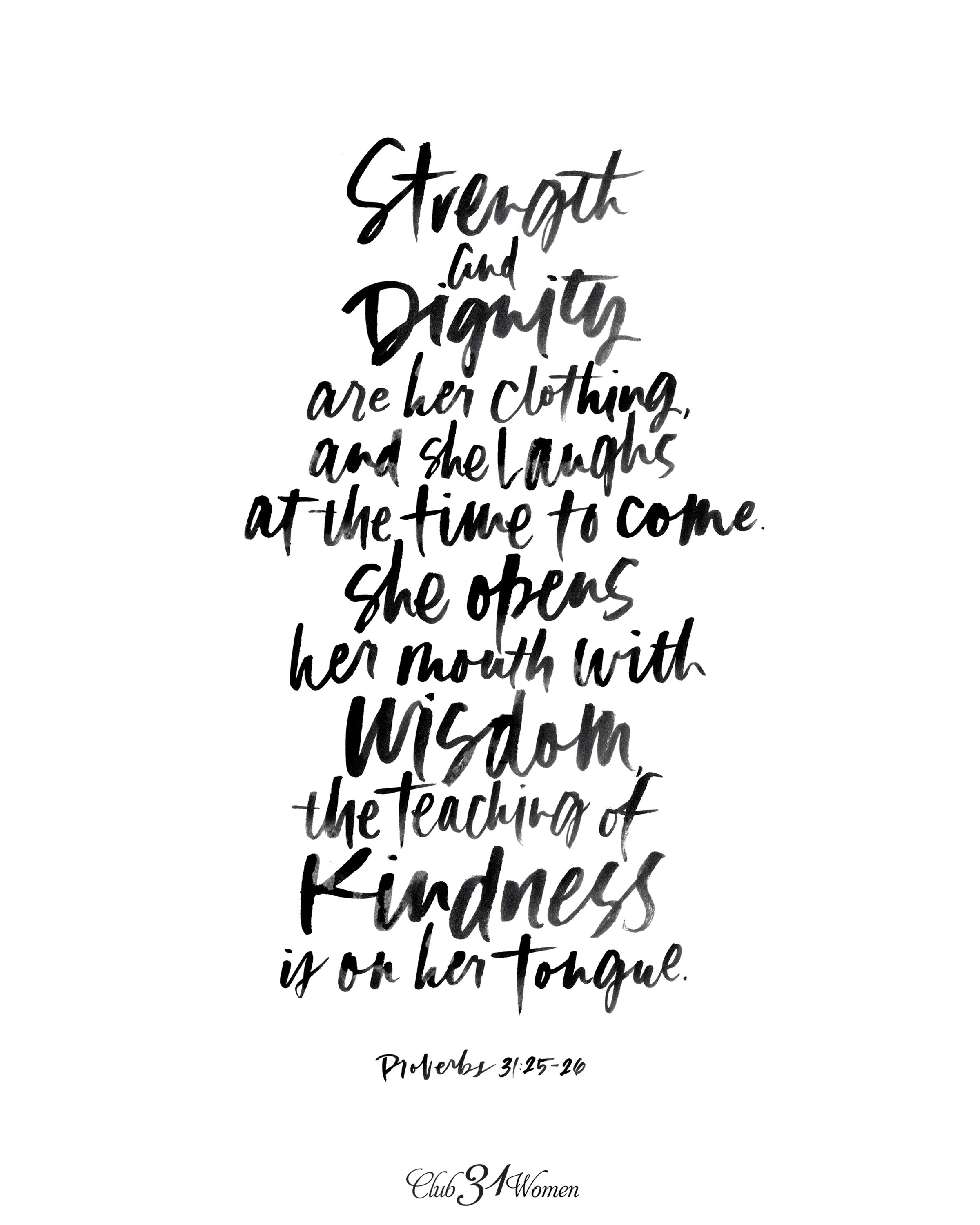 A Beautiful Proverbs 31 Printable Strength And Dignity