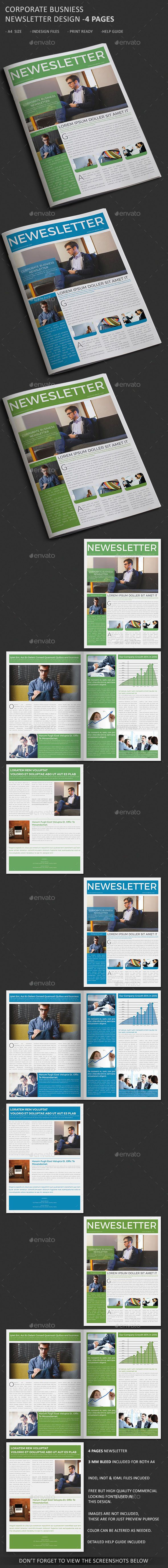 corporate business newsletter 4 page newsletters print templates