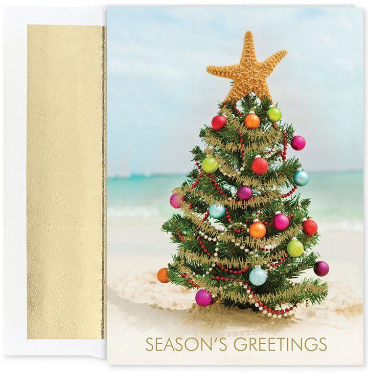 Coastal Christmas, Christmas cards, Beach Christmas Tree, Holiday ...