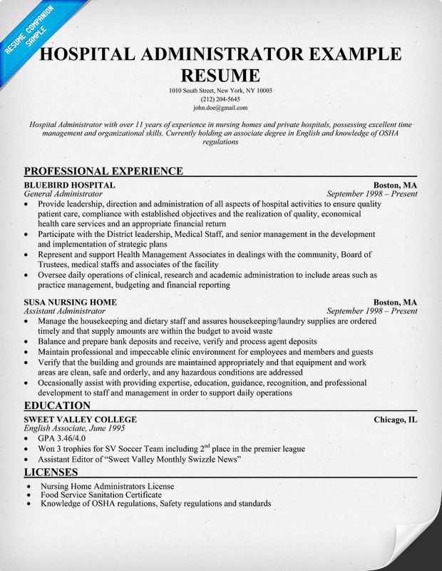 Resume For Hospital Job Hospital Administrator Resume Resumecompanion #medical