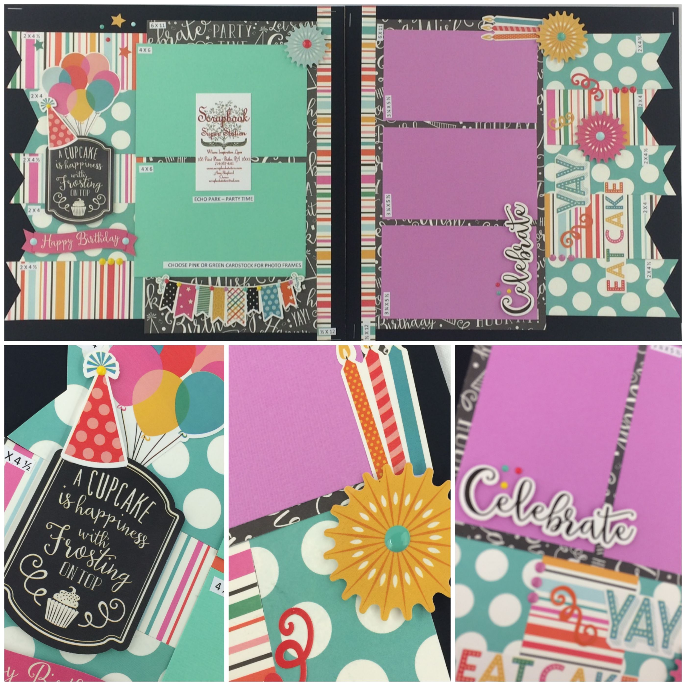 Scrapbook paper echo park - Echo Park Party Time Best Site For Page Layout Kits Ever And They Have Auto