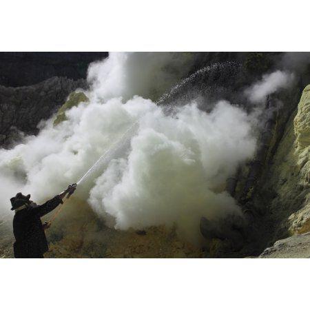 Miner cooling condensation pipes Kawah Ijen volcano Java Indonesia Canvas Art - Richard RoscoeStocktrek Images (18 x 12)