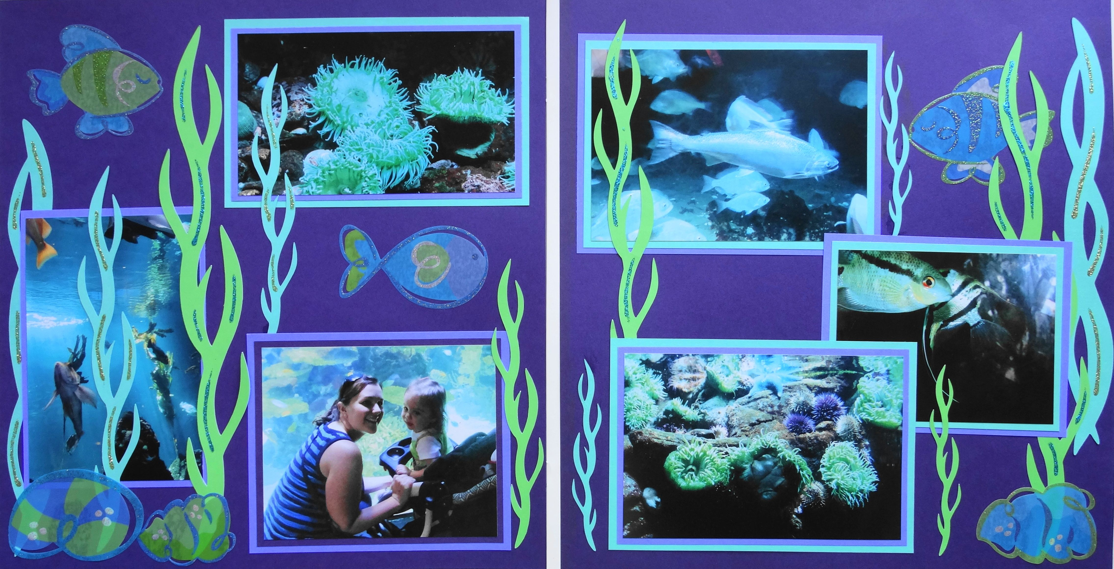 Scrapbook ideas many pictures - Scrapbook Page At The Aquarium A 2 Page Layout With Seaweed And Fish From
