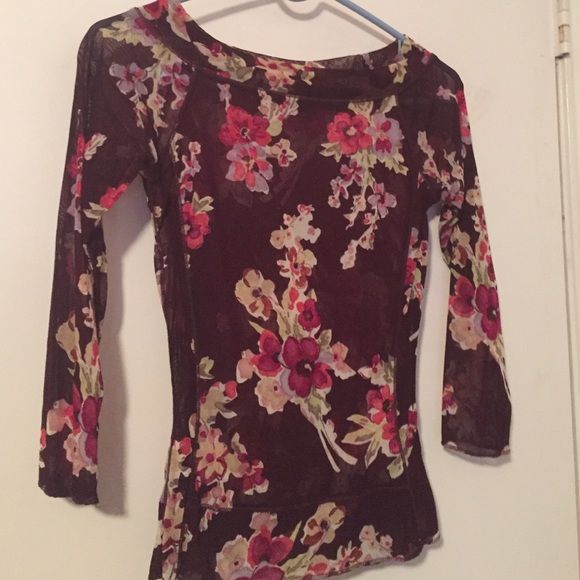 Sheer floral top Sheer floral top The Limited Tops Blouses