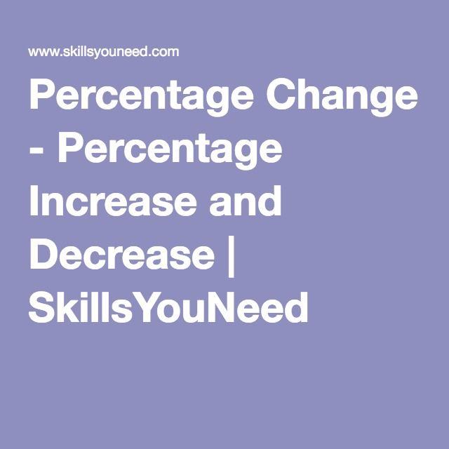 Percentage Change Percentage Increase And Decrease Skillsyouneed