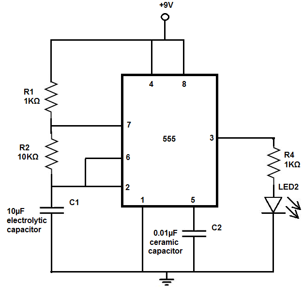 Led Flash Circuit For Blinking Eyes Electronics Circuit Circuit Circuit Diagram