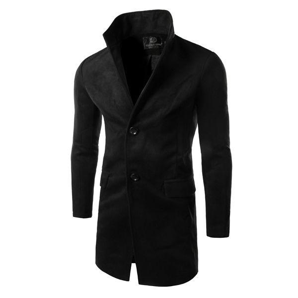 Men's Long Slim Fit Single-breasted Woolen Overcoat