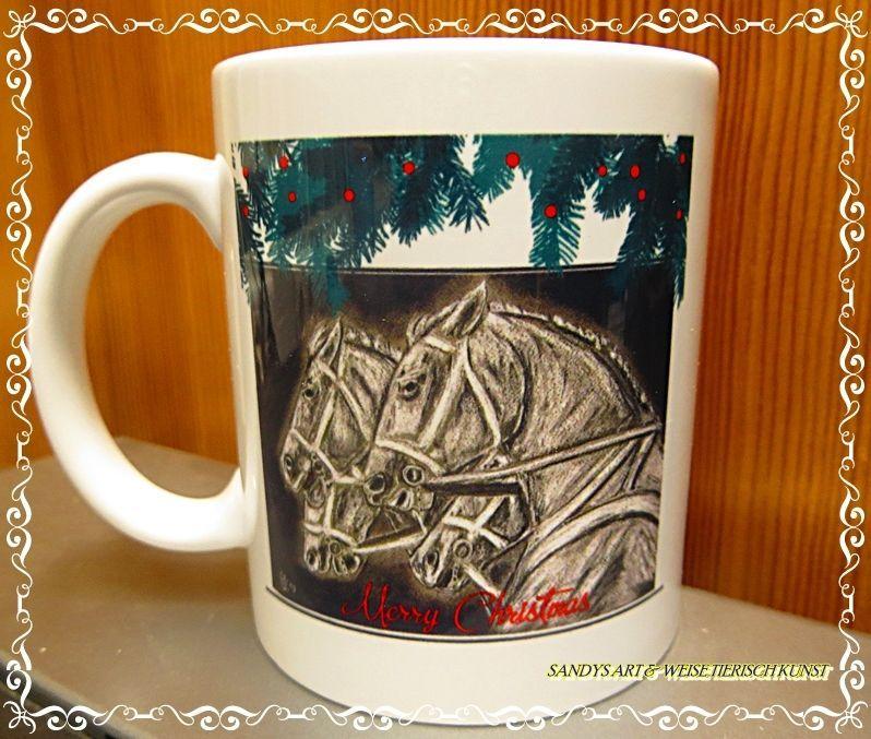 Keramik Becher stabil Weihnachten Pferde Pferdemotiv Power S.ART ...