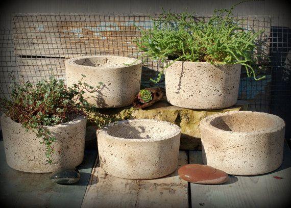 Simple Hypertufa Pot Handmade Minimalist Lightweight Concrete Succulent Planter Container Concrete Planters Succulents In Containers Planters