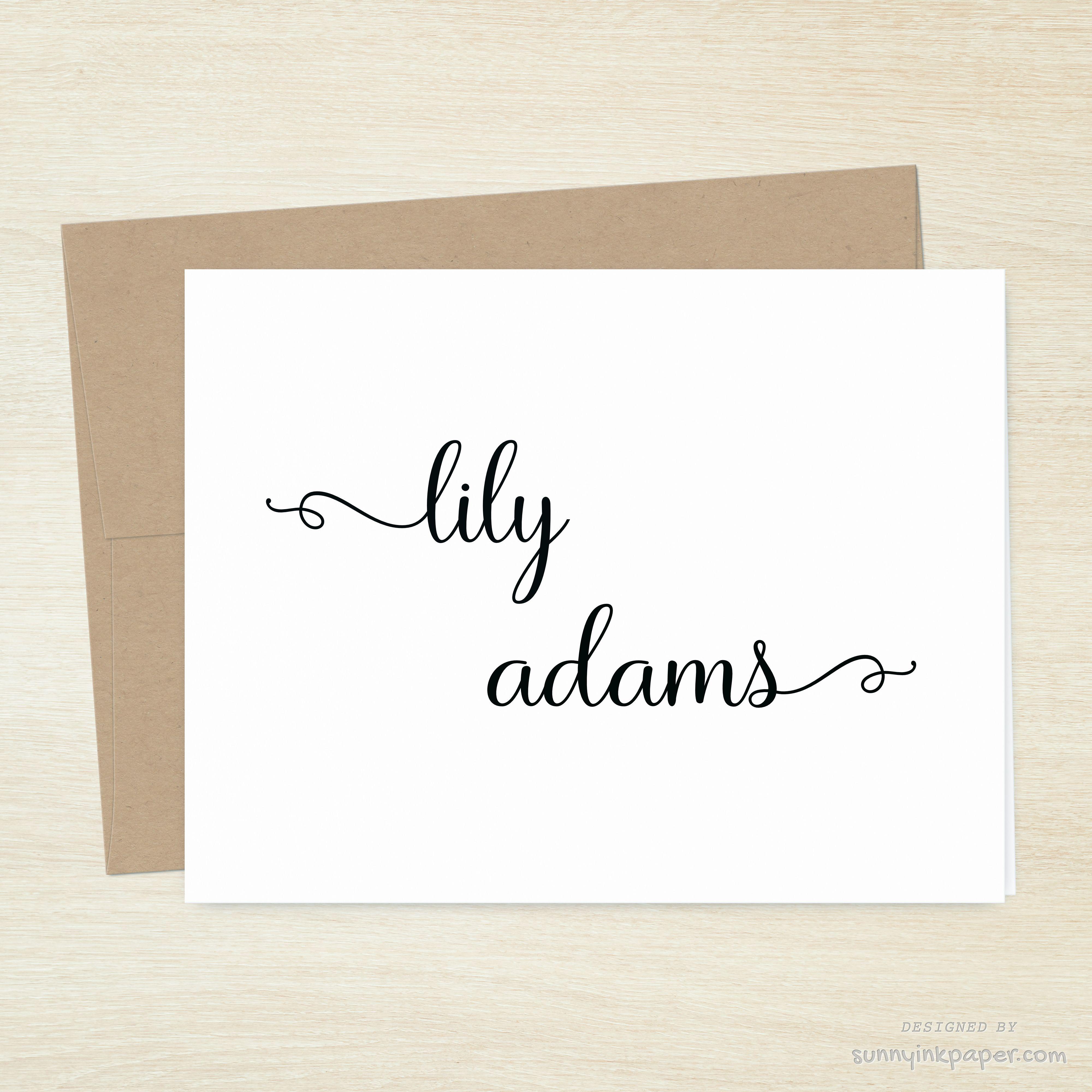 Script Font Custom Folded Note Cards