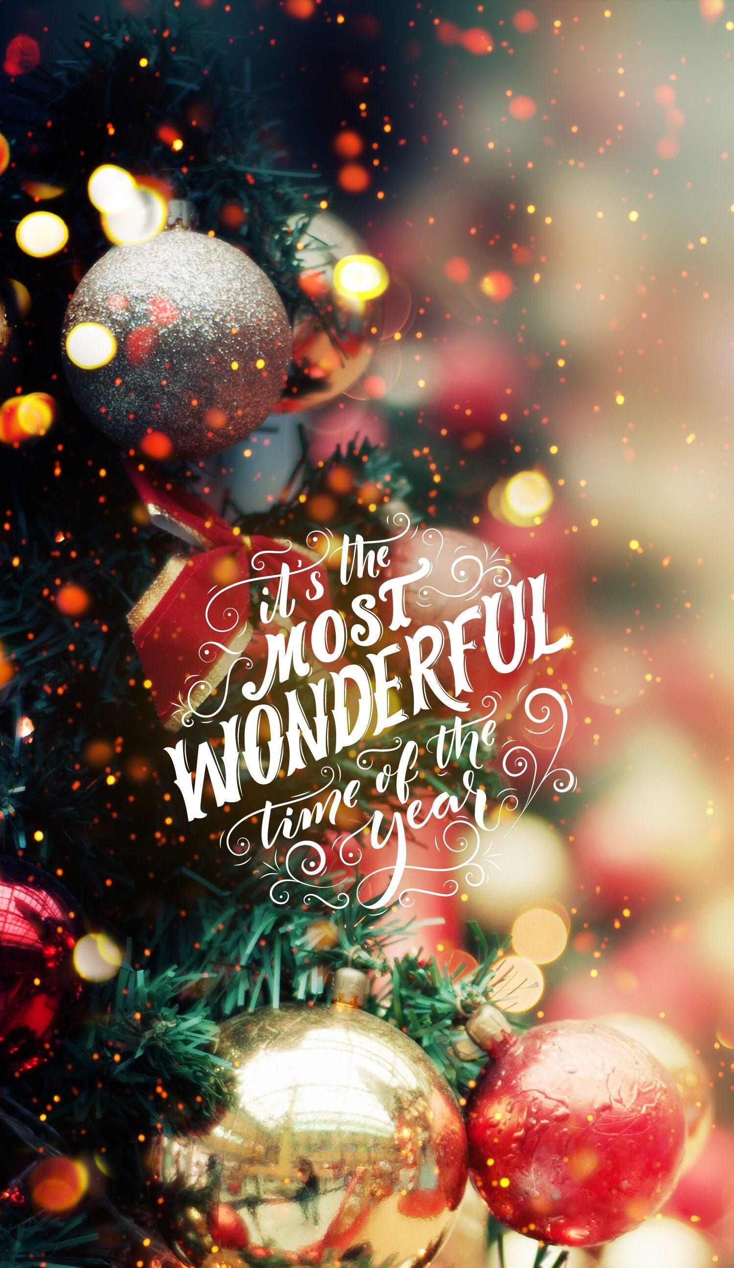 Its The Most Wonderful Time Of The Year Christmas Iphone Android Cellphone Lock Screen Wallpaper Background Christmas Tree Lights Ornaments