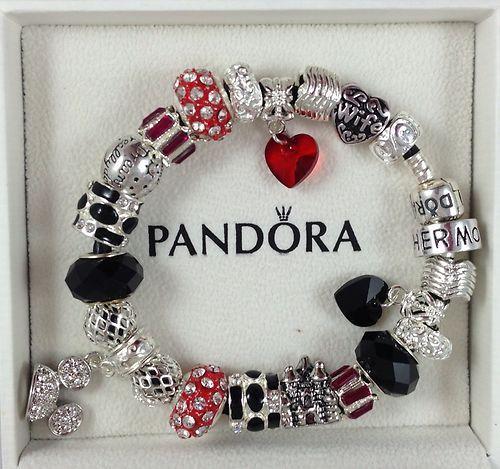 "Jewelry Store Pandora: Authentic 7.5"" Pandora Black Leather Bracelet Disney Park"