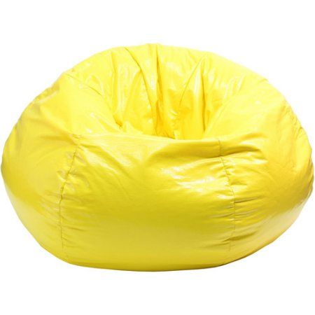 Outstanding Medium Tween Wet Look Vinyl Bean Bag Yellow Products Gmtry Best Dining Table And Chair Ideas Images Gmtryco