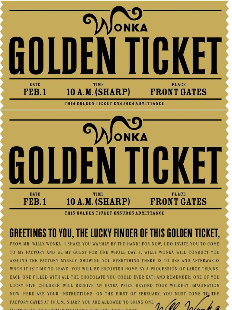 FREE printable Willy Wonka\'s golden ticket--need to have a scrbd ...