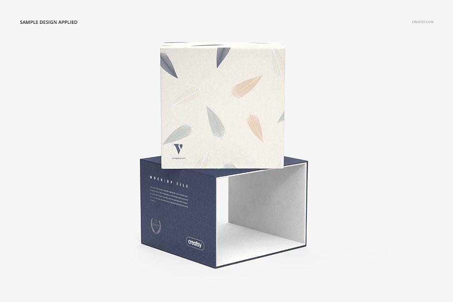 Download Slide Gift Box Mockup Set Box Mockup Business Cards Simple Creative Market