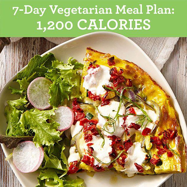 7Day Vegetarian Meal Plan 1,200 Calories Vegetarian