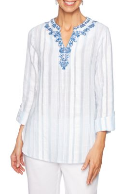 784ab842ac351 Ruby Rd Women's Sea Scene Embroidered Split Neck Gauze Top - Sky Blue - M