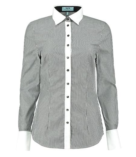 Women 39 s black white stripe fitted shirt with white for Blue and white striped shirt with white collar