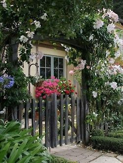 Wooden garden gate with flowers and shrubs