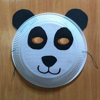 M scara de oso panda con plato de papel manualidades de carnaval panda - Mascaras para carnaval manualidades ...