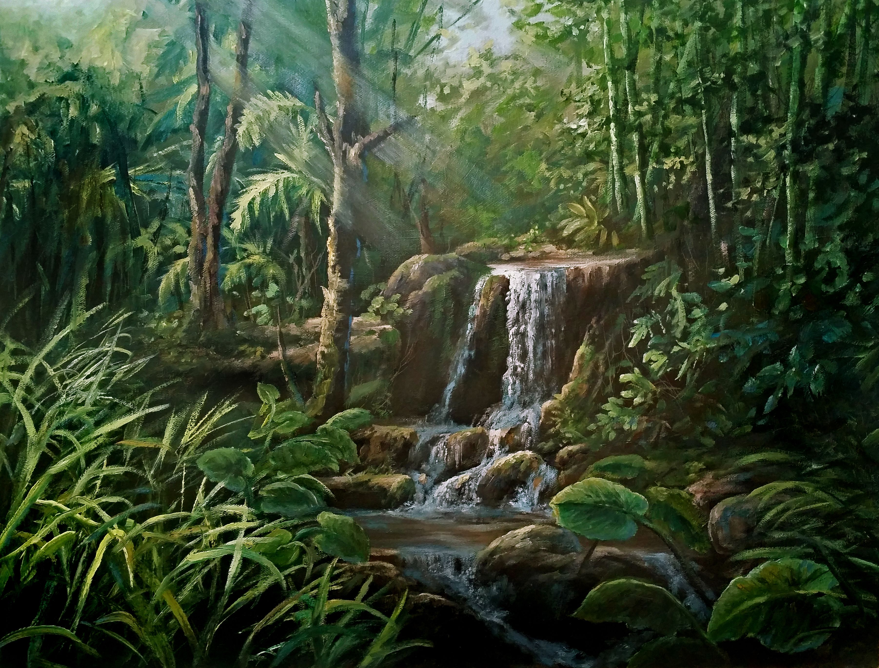 Jungle Waterfall Oil Painting By Kevin Hill Watch Short Oil Painting Lessons On Youtube Kevinoilp Landscape Pictures Landscape Artist Oil Painting Landscape