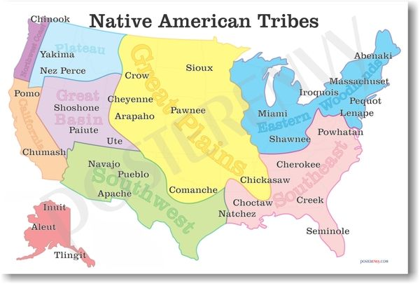 Native American Tribes Map American History Poster Indigenous - Indian-tribes-of-the-us-map