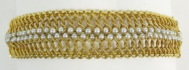 Lady's Retro Braided 18 Karat Yellow Gold and Pearl : Lot 112