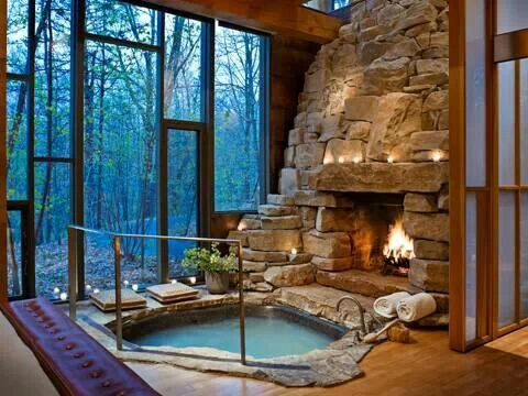 Indoor hot tub and fire place