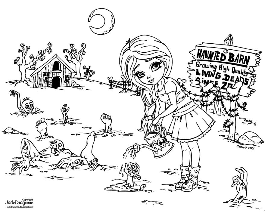 Zombie Farm by *JadeDragonne on deviantART | Printable Art/Coloring ...