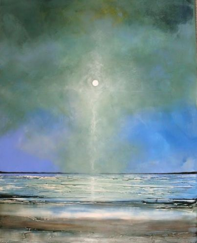 Sept 3 Large 24x30 Original Landscape Seascape with Texture Minimalist Painting, painting by artist Toni Grote