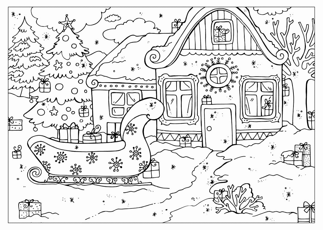 Christmas Village Coloring Pages Display
