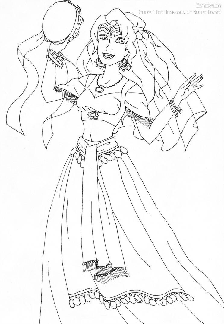 Esmeralda deluxe gown lineart by LadyAmber  Coloring pages