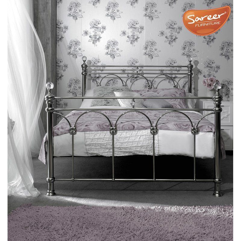 Metal Bed Frame Chrome Finish King Size Solid Steel