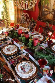 holiday tablescape blog hop plaid tidings everyday living christmas tabletop tartan christmas