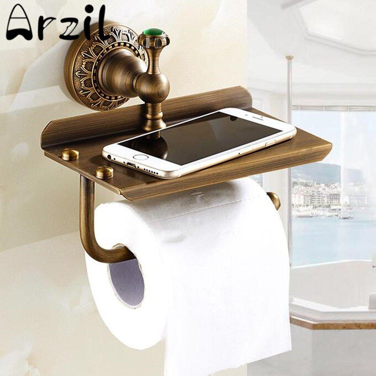 Nueva Barra De Laton Antiguo Montado En La Pared De Toallas De Papel Higienico Titular De Papel Higi Toilet Paper Holder Toilet Roll Holder Wall Mounted Toilet