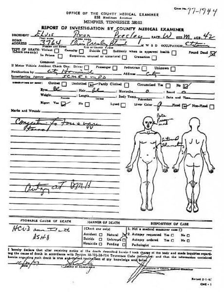 elvis presley u00b4s death autopsy photo