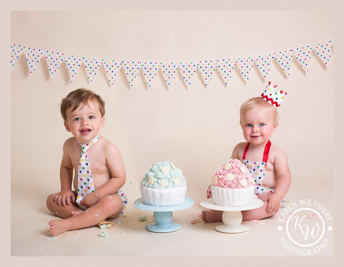 First Birthday Twins Cake Smash Poole