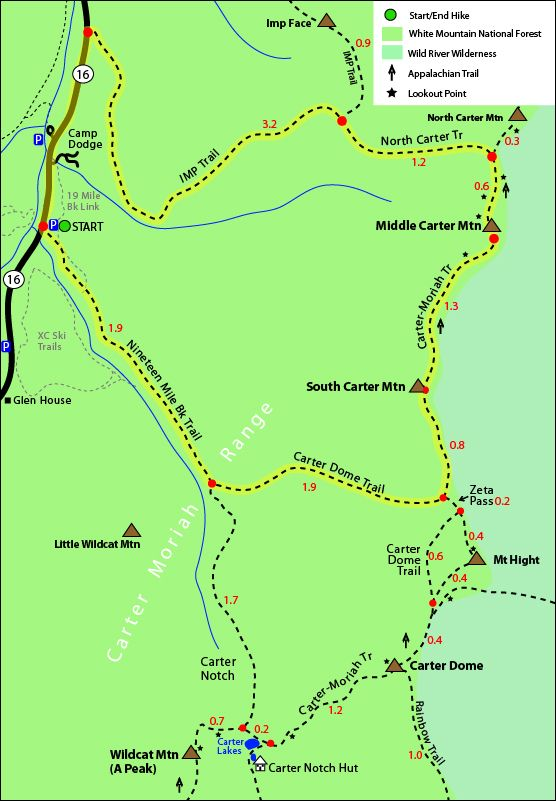 South Carter Middle Carter Carter Dome trail map Carter Dome