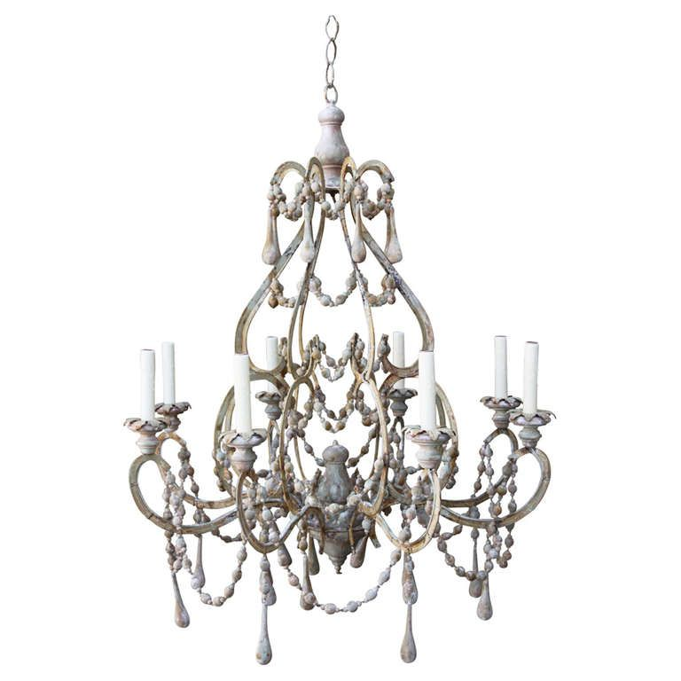 Eight Light Italian Painted Wood Beaded Chandelier From A Unique Collection Of Antique And Modern Chandeliers Pendants At