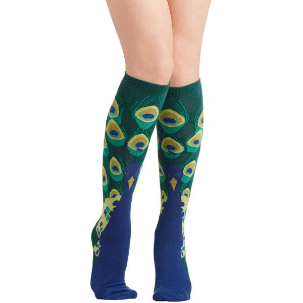 ModCloth Quirky Peacock This Way Socks (31 BRL) ❤ liked on Polyvore featuring intimates, hosiery, socks, peacock, blue, foundation, knee-high sock, peacock socks, patterned hosiery and blue socks