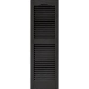 Builders Edge 15 In X 48 In Louvered Shutters Pair 002 Black 010140048002 At The Home Depot 34 00 Shutters Exterior Vinyl Exterior Builders Edge