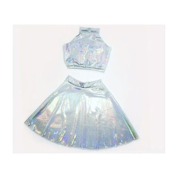 HOLOGRAPHIC TWIN SET Sleeveless Turtle Neck Crop and High Waist Skater... ❤ liked on Polyvore featuring skirts, white flared skirt, white knee length skirt, high waisted two piece, polka dot skater skirt and white skirt
