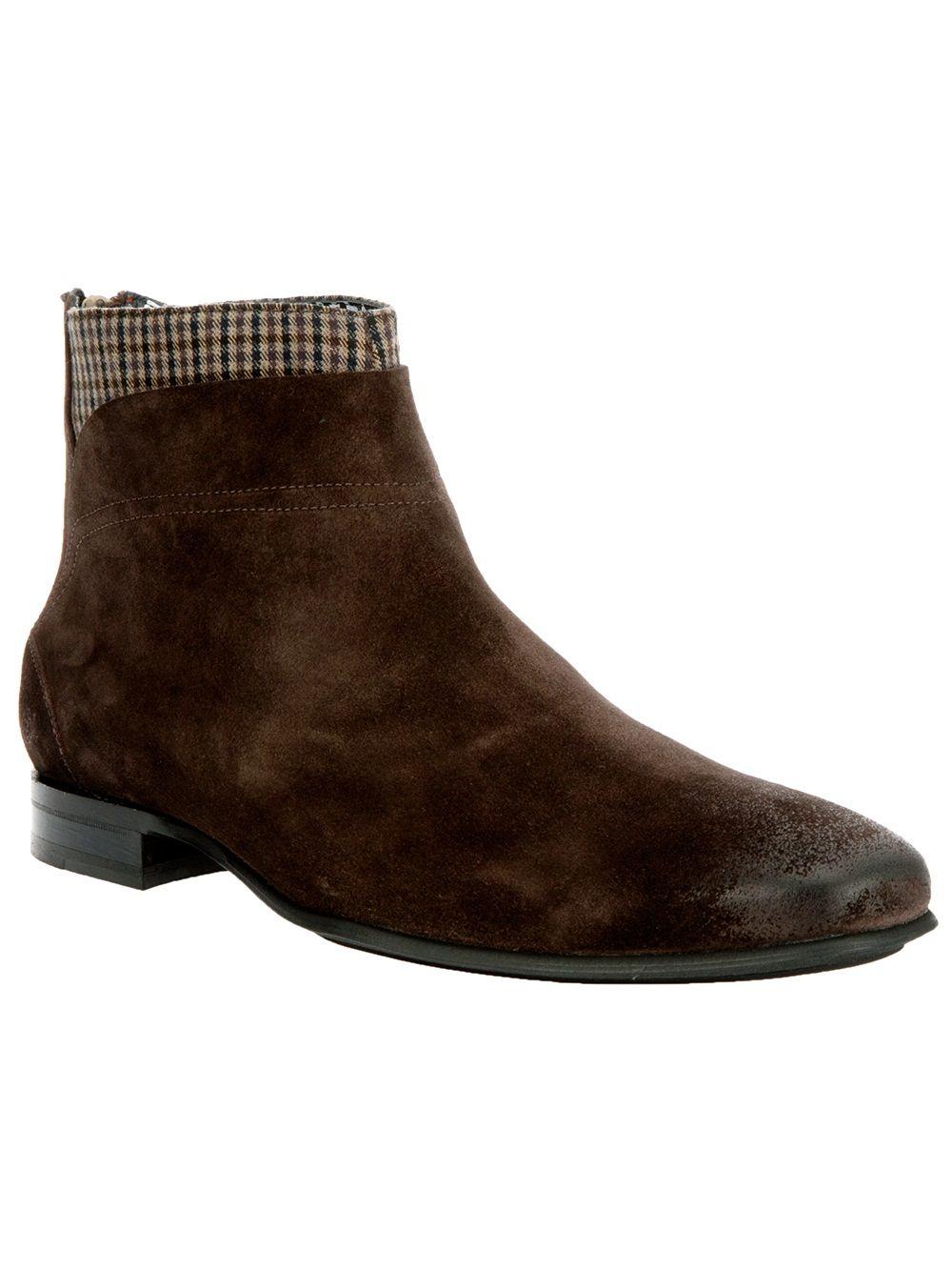 Paul & Joe Checkered Detail Ankle Boot