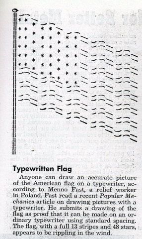 Typewritten Flag Ascii Art Popular Mechanics Jul 1948 Ascii Art Text Art Ascii