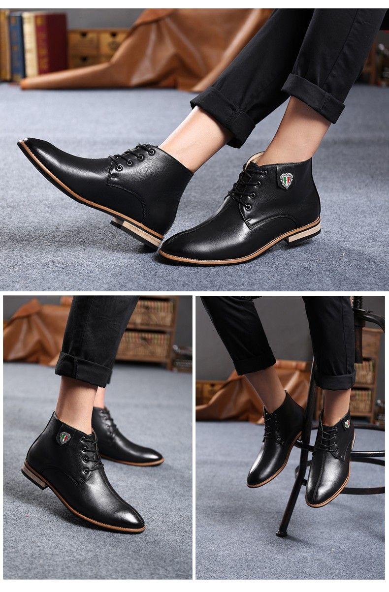 Botas de cuero negro para Hombre zapatos de vestir marrones casuales  botines nuevo diseño moda otoño punta estrecha calzado Botas Botas Hombre  en Botas de ... de4bfa808ea