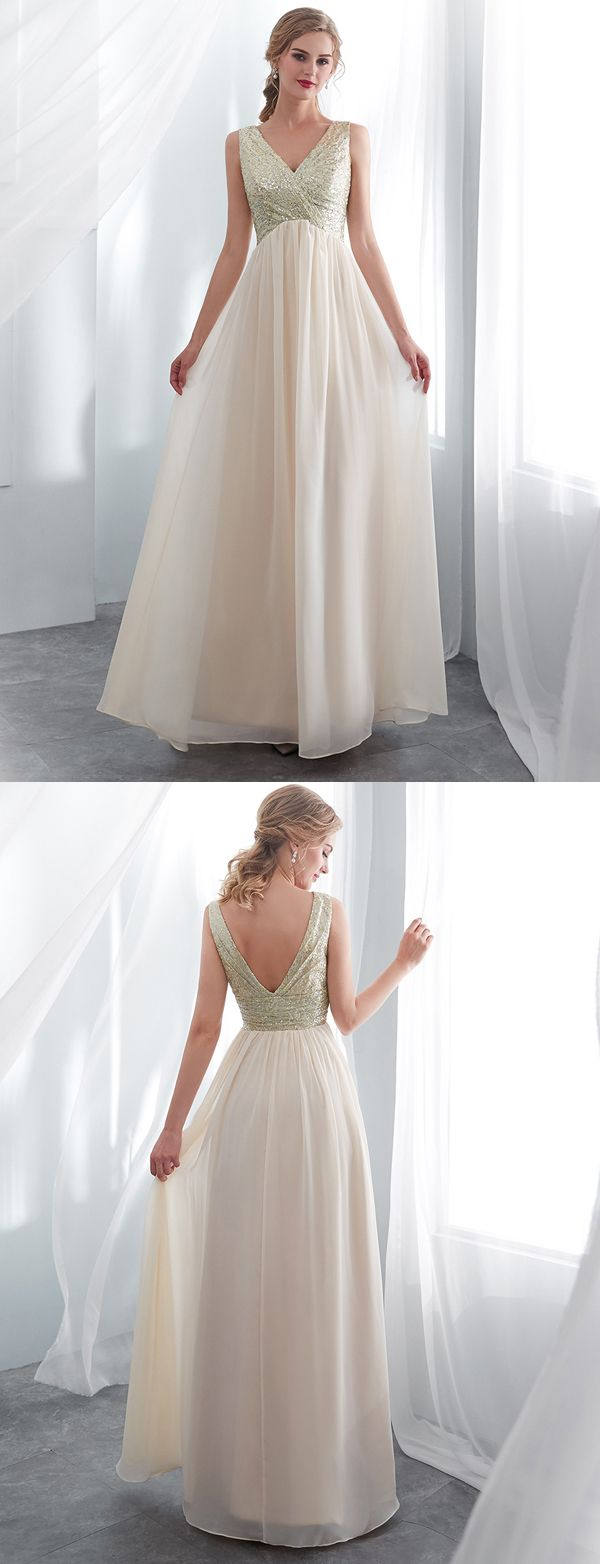 Fashion a line v neck sleeveless champagne long prom dress with